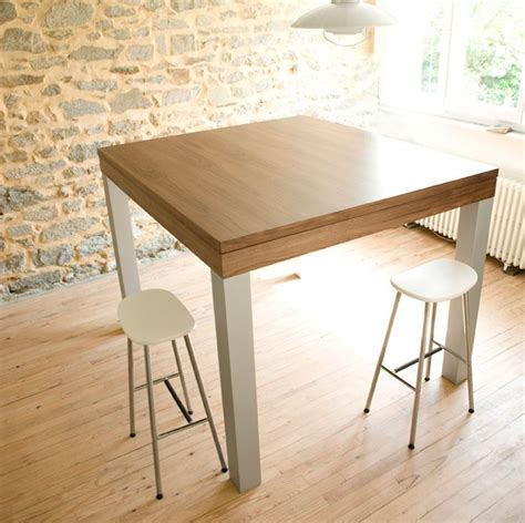 table haute cuisine grande table haute design noyer alu pas cher