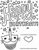 Birthday Coloring Cards Printable Happy Card Pages Kittybabylove Source Info sketch template