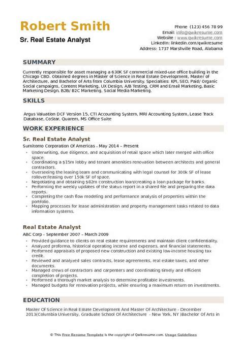 Real Estate Resume by Real Estate Analyst Resume Sles Qwikresume