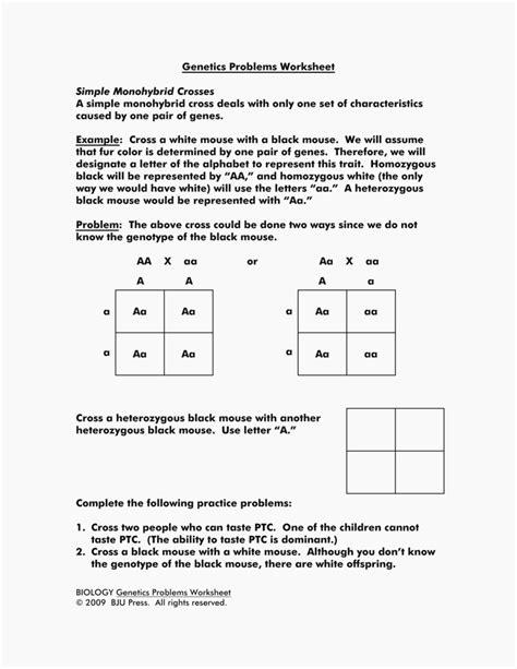 Refrence Of Monohybrid Cross Worksheet Answers Wplandingpagescom