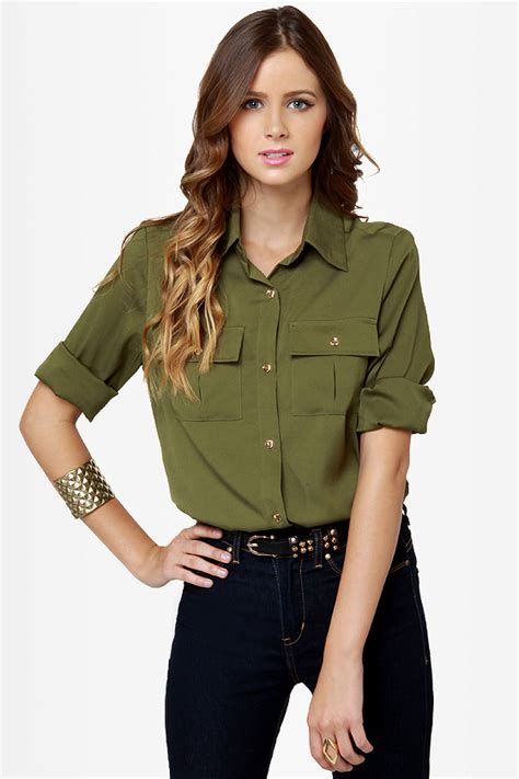 olive green blouse sleek button up top olive green top collared top 38 00