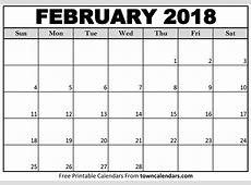 Printable February 2018 Calendar towncalendarscom