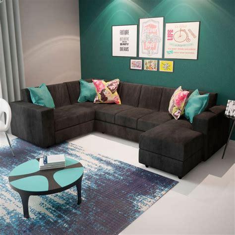 sofa de canto cinza escuro baci living room