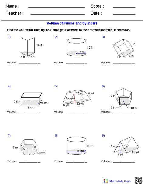 prisms and cylinders volume worksheets math aids