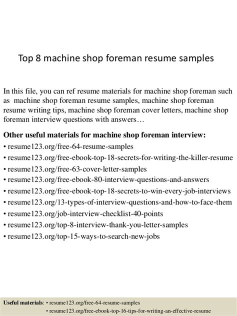 Machine Shop Resume by Top 8 Machine Shop Foreman Resume Sles