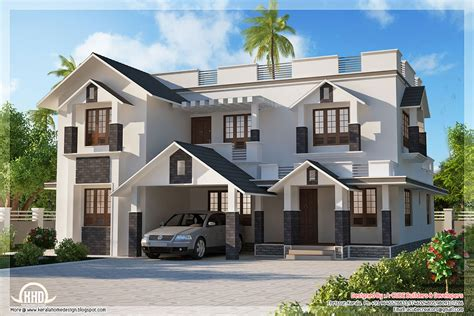 4 bedroom sloping roof house - Kerala home design and