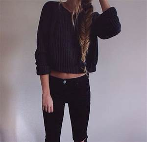 Sweater: black sweater, jeans, cropped sweater, winter ...