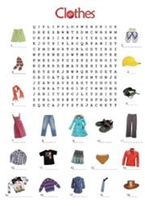 clothes wordsearch worksheets