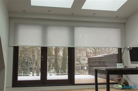 motorized blinds   office modern home theater