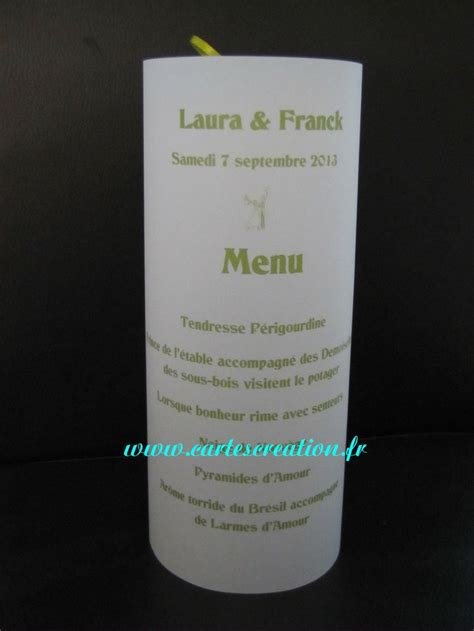 photophore menu en papier calque bougie led ruban vert anis personnalisable led