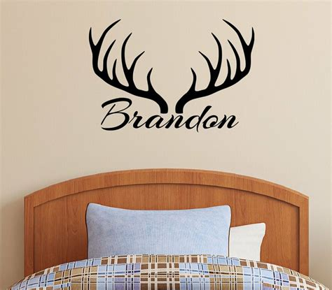 wall decoration stickers personalized name deer antlers rack vinyl wall decal