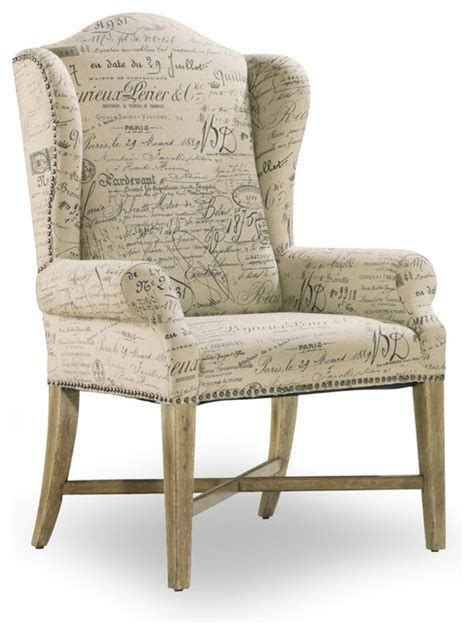 wing back dining arm chair parchment document fabric