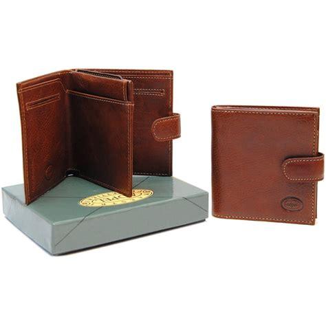 pelle vacchetta portafoglio piccolo da uomo e portamonete pelle cognac