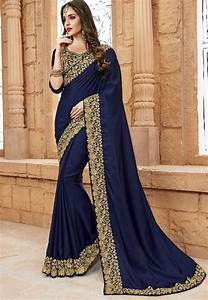 Embroidered Border Crepe Saree In Navy Blue   Sew5223