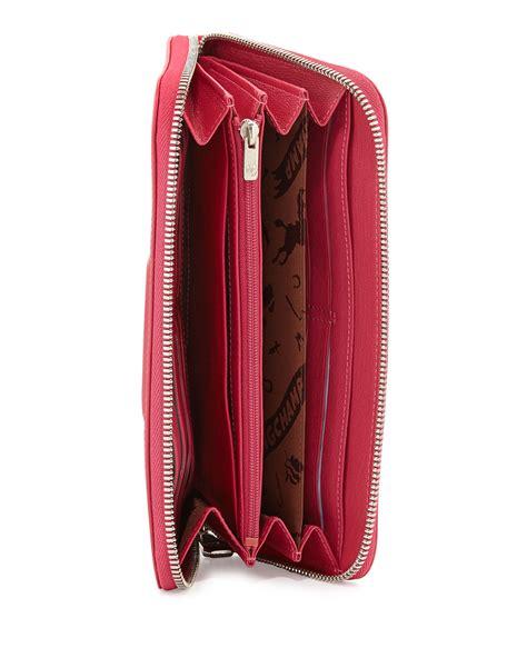 longchamp le pliage cuir zip  leather wallet  pink lyst
