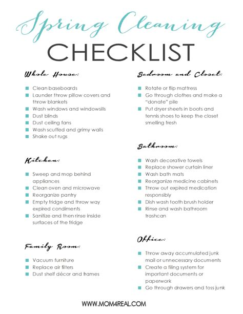 cleaning list printable cleaning checklist 4 real