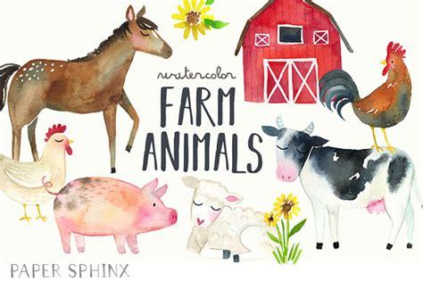 watercolor farm animals clipart farm clip art  horse