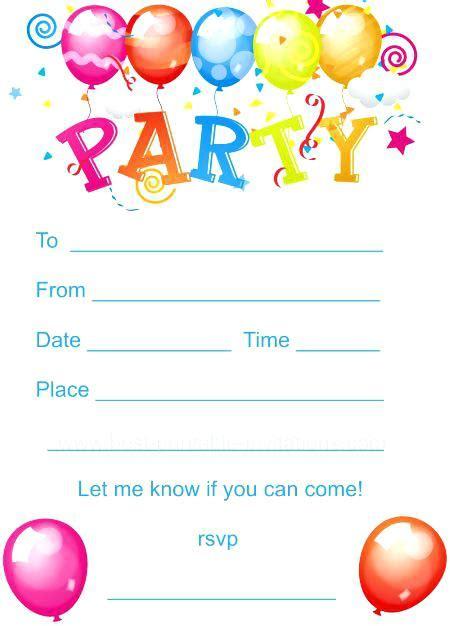 printable childrens birthday invitations