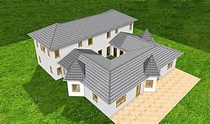 Bungalow Mit Atrium : atrium 289 30 12 ansicht 2 9 bungalow mit turm schloss einfamilienhaus neubau massivhaus stein ~ Indierocktalk.com Haus und Dekorationen