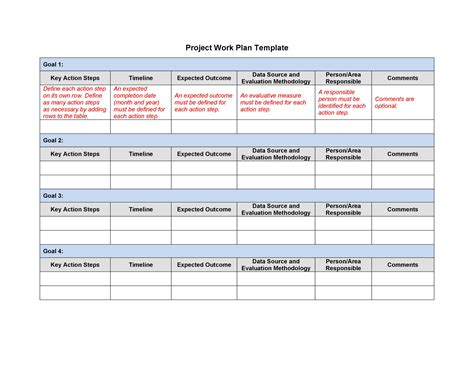 work plan  great templates samples excel word