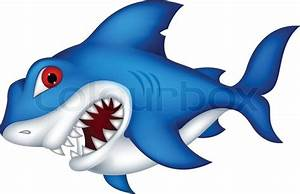 Angry shark cartoon | Stock Vector | Colourbox