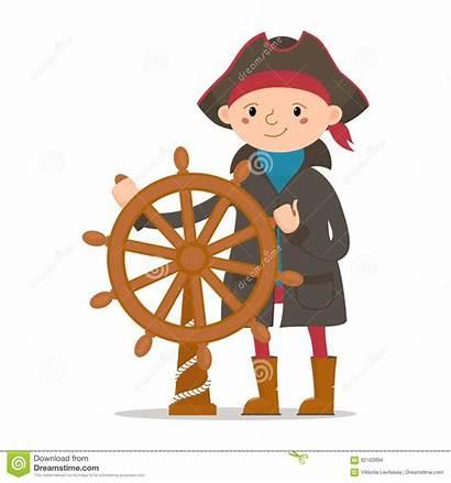Captain Ship Wheel Pirate Sailor Boy Cartoon