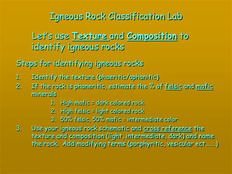 rocks are classified according to their composition and color ppt igneous rock classification lab powerpoint