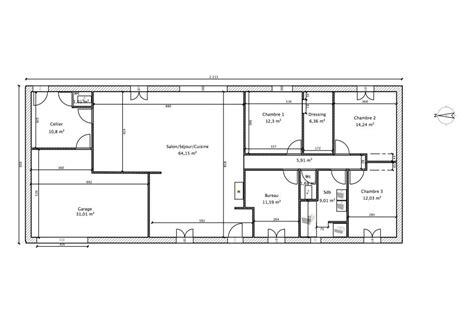 plan maison 150m2 4 chambres plan de maison rectangulaire plain pied 150m2