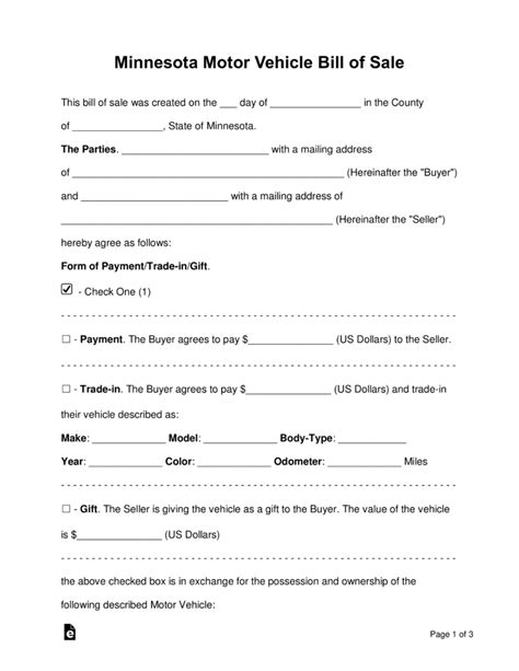 minnesota motor vehicle bill  sale form word