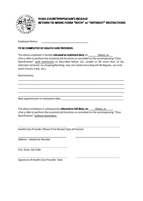 physicians release return  work form