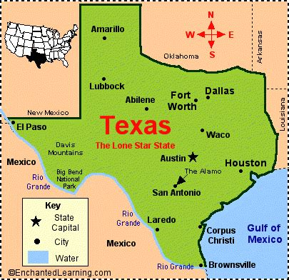 texas facts map  state symbols enchantedlearningcom