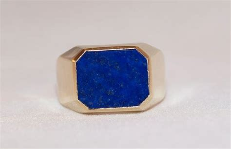 mens  gold lapis lazuli ring  cassies  ruby lane