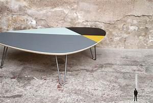 Pied De Table Original : creation sur mesure table basse 110x80 motif graphique bleu jaune gris noir tbt mg 02 ~ Teatrodelosmanantiales.com Idées de Décoration