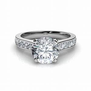 channel set round cut diamond engagement ring With diamond cut wedding rings