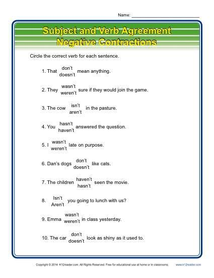 negative subject verb agreement worksheets