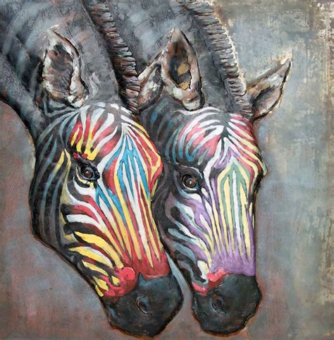 bloemen 3d dikke verf you tube metalen schilderij zebra dieren zebra s