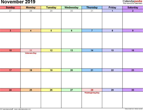 november calendars word excel