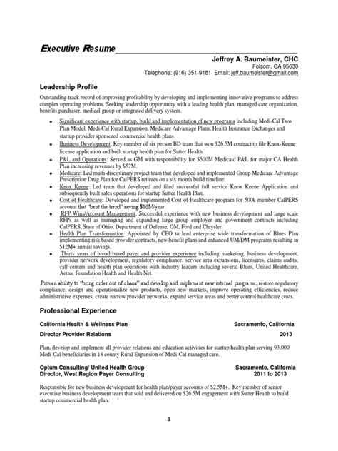 Resumes By Design Sacramento Ca by Vice President Managed Care In Sacramento Ca Resume