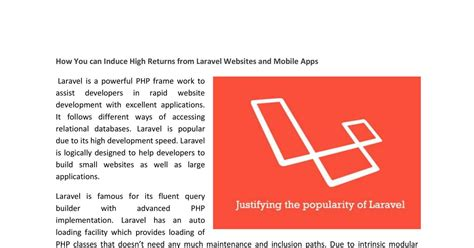 How You Can Induce High Returns From Laravel Websites And