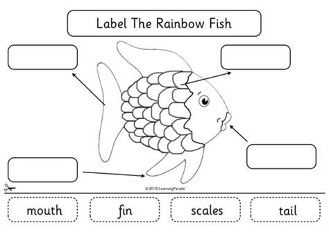 label the rainbow fish by learningparade teaching