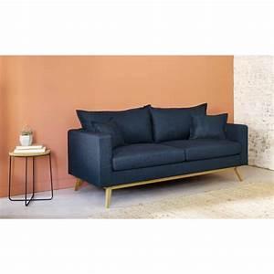 Canapé 3 Places Bleu : canap lit 3 places bleu nuit duke maisons du monde ~ Melissatoandfro.com Idées de Décoration