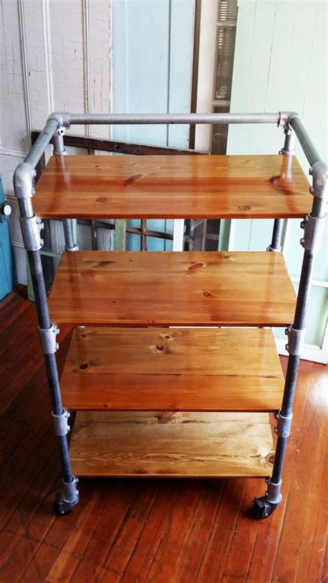 Kitchen Cart Pipe by Kitchen Cart Rack Shelves Reclaimed Wood Casters Pipe