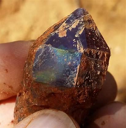 Amethyst Crystals Dirt Them Freshly Dug Shown