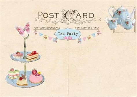 vintage tea party invitation tea party postcard