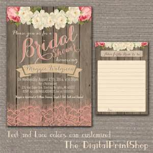 rustic wedding shower invitations garden rustic baby bridal shower invite wood pink peonies lace shabby chic invitation