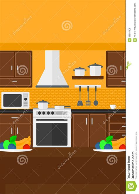 Kitchen Layout Vector by Background Of Kitchen With Appliances Stock Vector