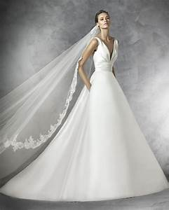 Pronovias simple yet graceful princess ball gown for Mikado silk wedding dress