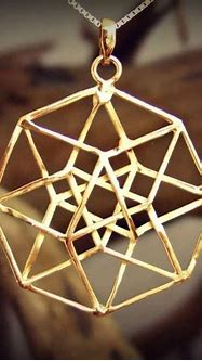 Tesseract Pendant Gold