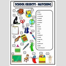 School Objects  Matching Worksheet  Free Esl Printable