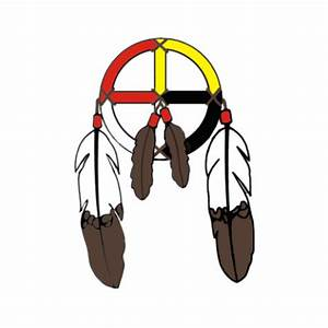 Medicine wheel with feathers decal